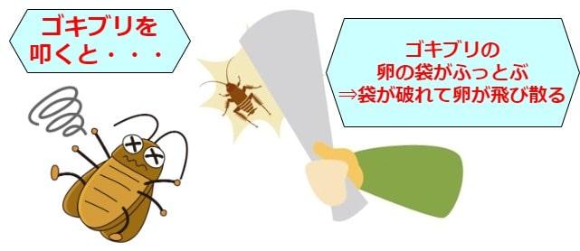 ゴキブリをたたく